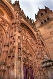Stone Tower Door Facade New Salamanca Cathedral Spain stock photo