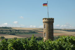 Stone tower and fields Royalty Free Stock Photo