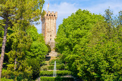 Stone tower garden medieval castle fountain Stock Photography
