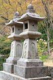 Stone tower japanese lanterns. In Hasedera temple Nara Japan Royalty Free Stock Image