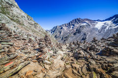 Stone tower in mountains, Stubai Alps Royalty Free Stock Photo