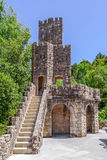 Stone Tower in the Mundos Celestes Terrace at Regaleira Palace and Gardens. Sintra, Portugal - July, 2015: Stone Tower in the Mundos Celestes Terrace at Royalty Free Stock Image
