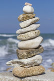 Stone tower with ocean surf Royalty Free Stock Image