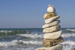 Stone tower with ocean surf Royalty Free Stock Photo