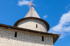 Stone tower of old fortress. Kremlin of Pskov Royalty Free Stock Photo