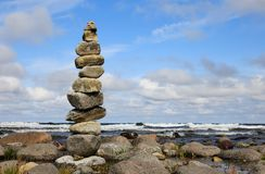 Stone tower. One stone tower at the shore Royalty Free Stock Photo