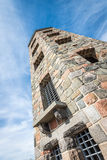 Stone tower in park. Public stone viewing tower during a sunny day Stock Image