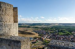 Stone tower of Penafiel Castle, Spain. Stone tower of Penafiel Castle in Spain, created in the 10th century and located at the Hill Stock Photo