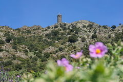 Stone tower Pyrenees Orientales Roussillon France Stock Photos