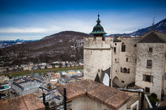 Stone tower roof at ancient castle in Salzburg Royalty Free Stock Photos