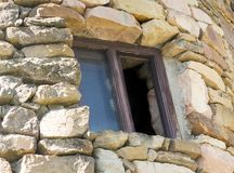 Stone tower window Royalty Free Stock Images