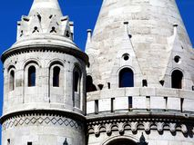 Stone towers of the Fisherman`s Bastion in Budapest stock images