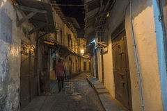 Stone Town Alley Ways On Zanzibar Island At Night Stock Image
