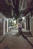 Stone town alley ways on Zanzibar Island at night stock images