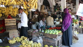 Stone Town fruit market stock video footage
