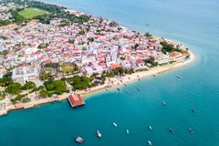 Stone Town, old colonial center of Zanzibar City. House of Wonders. The Old Fort. Unguja, Tanzania. Aerial view. Stone Town, old colonial center of Zanzibar royalty free stock photography