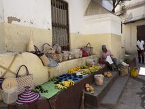 Market in the old streets stock image
