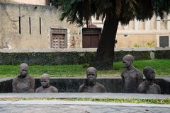 Slavery monument near the former slave trade place in Stone town, Zanzibar stock photography