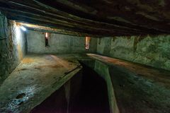 STONE TOWN, ZANZIBAR - JANUARY 9, 2015: Inside cell for slaves stock photography