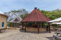 Travel around Africa. Façade of authentic African hotel. 2018.02.24, Stone Town, Zanzibar, Tanzania. Travel around Africa. Façade of authentic African stock photo