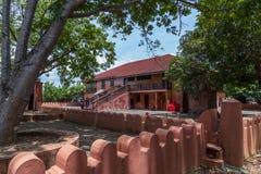 Travel around Africa. Façade of authentic African hotel. 2018.02.24, Stone Town, Zanzibar, Tanzania. Travel around Africa. Façade of authentic African royalty free stock photos