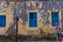 Travel around Africa. Façade of authentic African hotel. 2018.02.24, Stone Town, Zanzibar, Tanzania. Travel around Africa. Façade of authentic African royalty free stock images