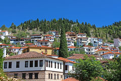 Stone traditional houses in Kastoria, Greece Stock Photos
