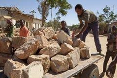 Stone on trailer in Ethiopia Stock Image