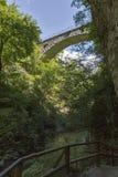 Stone train bridge in the Vintgar gorge, Slovenia. Royalty Free Stock Photos