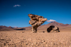 The Stone Tree (Arbol de Piedra) in the Bolivian Desert. This amazing rock formation is called the stone tree as it juts out of the surrounding desert in the Stock Image