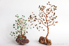 Stone tree. Trees stones with copper wire Royalty Free Stock Photo