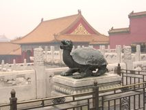 Stone turtle. On pedestal, chinese sculpture, Forbidden City in Beijing Royalty Free Stock Photos