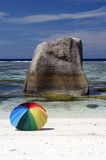Stone and umbrella. One of the most famous beach, Seychelles royalty free stock photography