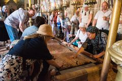 Stone of Unction, Church of the Holy Sepulchre, Jerusalem stock photos