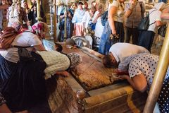 Stone of Unction, Church of the Holy Sepulchre, Jerusalem royalty free stock photography
