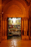 Stone of Unction Night View, Temple of the Holy Sepulcher, Jerus Stock Images