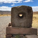 A stone used for communication in the ancient era was found in Tiwanaku, a Pre-Columbian archaeological site in western Bolivia as stock photography