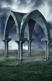 Stone Valley. A gothic archway set against a foggy storm background Royalty Free Stock Photography