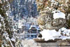 Stone vase, Sinaia, Romania Royalty Free Stock Photography