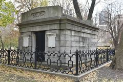 Stone Vault. This is a late Fall picture on a foggy day of the stone Vault of Ira Couch located in Lincoln Park in Chicago, Illinois.  The stone Vault  was Stock Photo