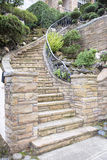 Stone Veneer Facade on Home Exterior Staircase Stock Photo