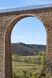 Stone viaduct in Albentosa, Teruel. Spain. Green way. Architecture Stock Photos