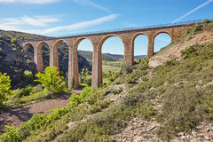 Stone viaduct in Albentosa, Teruel. Spain. Green way. Architecture Stock Image
