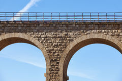 Stone viaduct detail in Albentosa, Teruel. Spain. Green way. Architecture Royalty Free Stock Photos