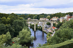 Knaresborough -Stone viaduct over the river Stock Photo