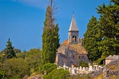 Stone village of Skrip landmarks view Stock Photos