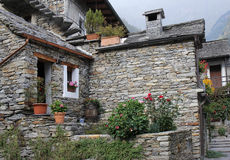 Stone village of Sonogno, Switzerland Stock Images