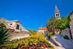 Stone village of Splitska church and street Stock Image