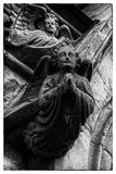 Stone vintage angels. Angels made of stone on an old church in ireland Stock Photo