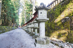 Stone vintage shrine in Japanese temple Stock Photo